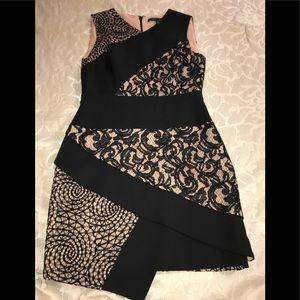 BCBG Black Lace Patterned Dress